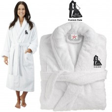 Deluxe Terry cotton with just married kiss CUSTOM TEXT Embroidery bathrobe