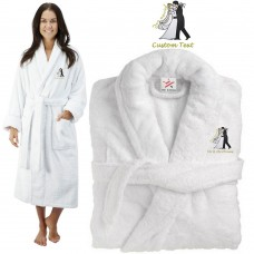 Deluxe Terry cotton with bride and groom just married kiss CUSTOM TEXT Embroidery bathrobe