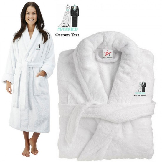 Deluxe Terry cotton with bride and groom just married dress design CUSTOM TEXT Embroidery bathrobe