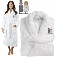 Deluxe Terry cotton with Cute Bride & Groom CUSTOM TEXT Embroidery bathrobe