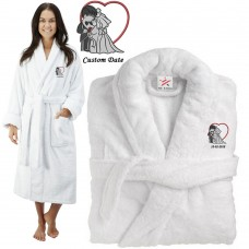 Deluxe Terry cotton with Bride & Groom Couple Graphic CUSTOM TEXT Embroidery bathrobe