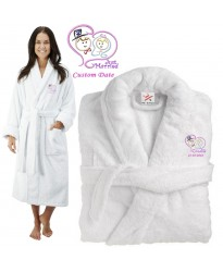 Deluxe Terry cotton with JUST MARRIED BRIDE AND GROOM CUSTOM TEXT Embroidery bathrobe