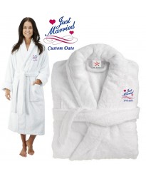 Deluxe Terry cotton with Just Married Floral Hearts CUSTOM TEXT Embroidery bathrobe