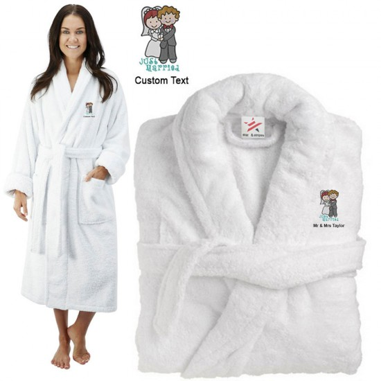 Deluxe Terry cotton with bride and groom just married cute couple CUSTOM TEXT Embroidery bathrobe