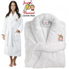 Deluxe Terry cotton with Just Married Bride Groom Kiss CUSTOM TEXT Embroidery bathrobe