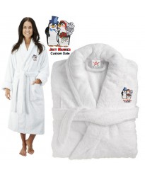 Deluxe Terry cotton with Just Married Bride And Groom Penguin CUSTOM TEXT Embroidery bathrobe