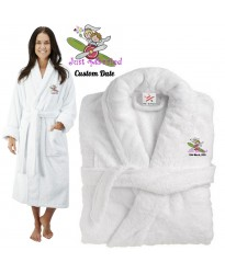 Deluxe Terry cotton with Just Married Bride And Groom in Plane CUSTOM TEXT Embroidery bathrobe