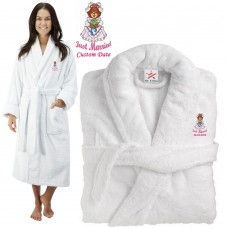 Deluxe Terry cotton with Just Married Teddy Bride CUSTOM TEXT Embroidery bathrobe