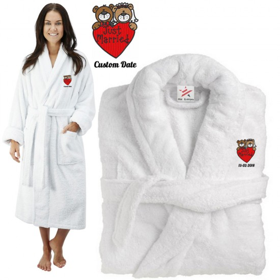Deluxe Terry cotton with Just Married Bride And Groom Teddy CUSTOM TEXT Embroidery bathrobe