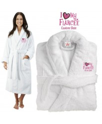 Deluxe Terry cotton with i love my fiancée heart CUSTOM TEXT Embroidery bathrobe