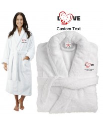 Deluxe Terry cotton with him her love heart graphic CUSTOM TEXT Embroidery bathrobe