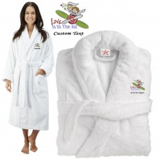 Deluxe Terry cotton with love in the air CUSTOM TEXT Embroidery bathrobe