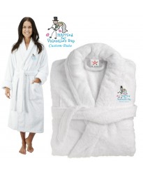 Deluxe Terry cotton with married for valentines day CUSTOM TEXT Embroidery bathrobe