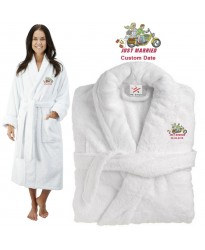 Deluxe Terry cotton with just married biker couple CUSTOM TEXT Embroidery bathrobe