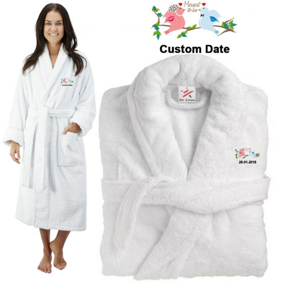 Deluxe Terry cotton with meant to be cute birds CUSTOM TEXT Embroidery bathrobe