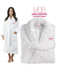 Deluxe Terry cotton with mother of the bride MOB initials car CUSTOM TEXT Embroidery bathrobe