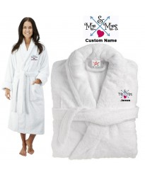 Deluxe Terry cotton with Mr & Mrs Arrows & Hearts CUSTOM TEXT Embroidery bathrobe