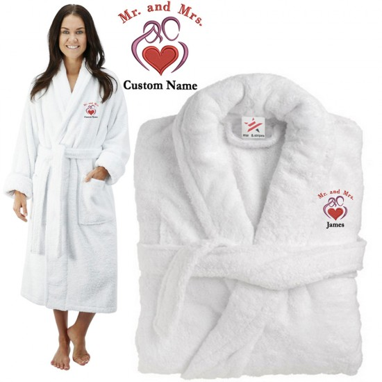 Deluxe Terry cotton with Mr & Mrs Big Heart CUSTOM TEXT Embroidery bathrobe