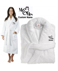 Deluxe Terry cotton with Mr & Mrs Birds CUSTOM TEXT Embroidery bathrobe