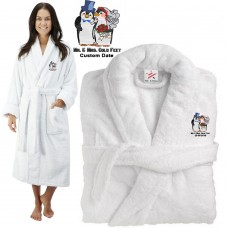 Deluxe Terry cotton with mr & mrs cold feet CUSTOM TEXT Embroidery bathrobe