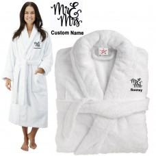 Deluxe Terry cotton with Mr & Mrs Curly Style CUSTOM TEXT Embroidery bathrobe