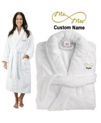 Deluxe Terry cotton with Mr & Mrs Curly CUSTOM TEXT Embroidery bathrobe