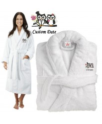 Deluxe Terry cotton with BRIDE AND GROOM CUTE OWL CUSTOM TEXT Embroidery bathrobe