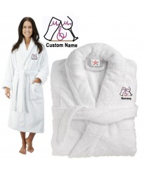 Deluxe Terry cotton with MR & MRS WITH GLASS CUSTOM TEXT Embroidery bathrobe