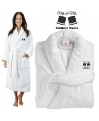 Deluxe Terry cotton with mr & mrs hats CUSTOM TEXT Embroidery bathrobe