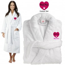 Deluxe Terry cotton with mr & mrs in a heart shape CUSTOM TEXT Embroidery bathrobe