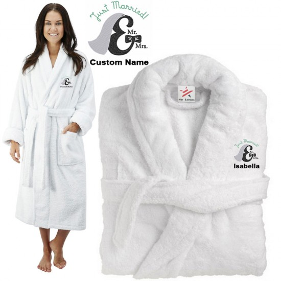 Deluxe Terry cotton with mr & mrs just married CUSTOM TEXT Embroidery bathrobe