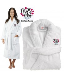 Deluxe Terry cotton with MR & MRS WITH MULTI HEARTS CUSTOM TEXT Embroidery bathrobe