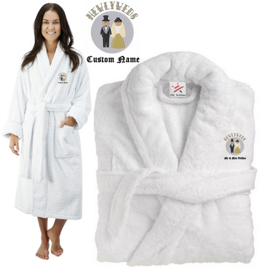 Deluxe Terry cotton with CUTE NEWLY WEDS COUPLE CUSTOM TEXT Embroidery bathrobe