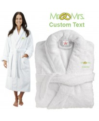 Deluxe Terry cotton with mr & mrs ring design CUSTOM TEXT Embroidery bathrobe