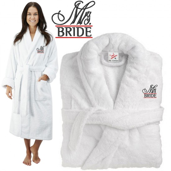 Deluxe Terry cotton with MRS BRIDE CUSTOM TEXT Embroidery bathrobe