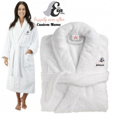 Deluxe Terry cotton with mr & mrs happily ever after CUSTOM TEXT Embroidery bathrobe