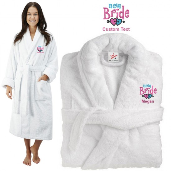 Deluxe Terry cotton with new bride heart CUSTOM TEXT Embroidery bathrobe