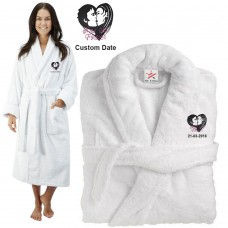 Deluxe Terry cotton with bride groom kiss now and forever CUSTOM TEXT Embroidery bathrobe