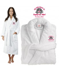 Deluxe Terry cotton with on the road to happily ever after CUSTOM TEXT Embroidery bathrobe