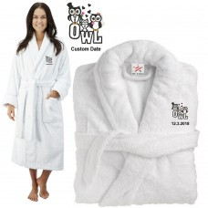 Deluxe Terry cotton with love owl family clipart CUSTOM TEXT Embroidery bathrobe