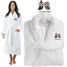 Deluxe Terry cotton with him her owl couple CUSTOM TEXT Embroidery bathrobe