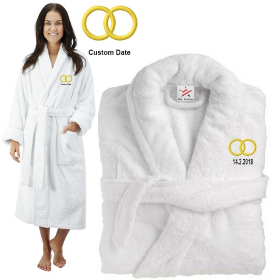 Deluxe Terry cotton with couple rings CUSTOM TEXT Embroidery bathrobe