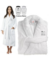 Deluxe Terry cotton with Groom & Bride Salt & Pepper CUSTOM TEXT Embroidery bathrobe