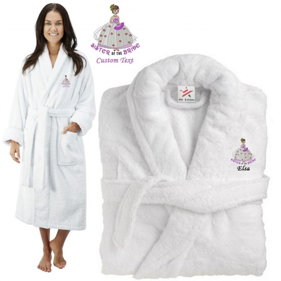 Deluxe Terry cotton with sister of the bride CUSTOM TEXT Embroidery bathrobe