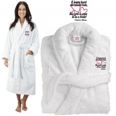 Deluxe Terry cotton with soon to be a bride CUSTOM TEXT Embroidery bathrobe