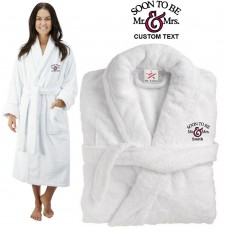 Deluxe Terry cotton with Soon to be MR & MRS CUSTOM TEXT Embroidery bathrobe