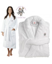 Deluxe Terry cotton with sorry girls he is taken design CUSTOM TEXT Embroidery bathrobe
