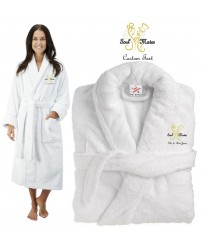 Deluxe Terry cotton with him her soulmates CUSTOM TEXT Embroidery bathrobe