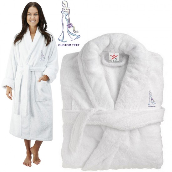 Deluxe Terry cotton with Strong Bride CUSTOM TEXT Embroidery bathrobe