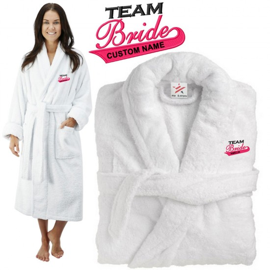 Deluxe Terry cotton with TEAM BRIDE CUSTOM TEXT Embroidery bathrobe